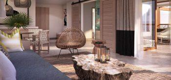 Suite del resort Lopesan Costa Bávaro en Punta Cana con terraza y buena iluminación