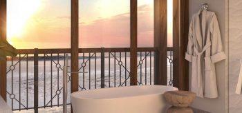 Baño de la suite del resort Lopesan Costa Bávaro en Punta Cana