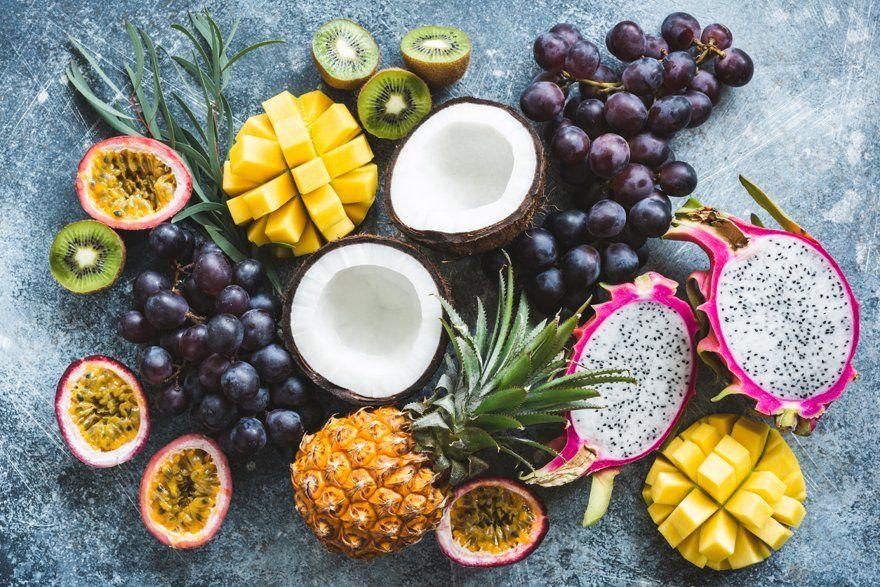 Assortment of exotic tropical fruits